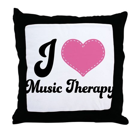 I Heart Music Therapy Throw Pillow