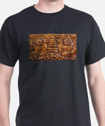Copper relief of Reindeer and Christmas Tr T-Shirt
