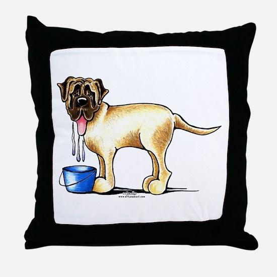 Mastiff Drool Throw Pillow