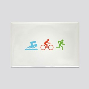 Triathlon Rectangle Magnet