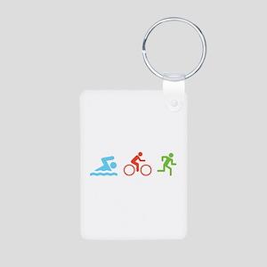 Triathlon Aluminum Photo Keychain