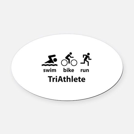 Swim Bike Run TriAthlete Oval Car Magnet