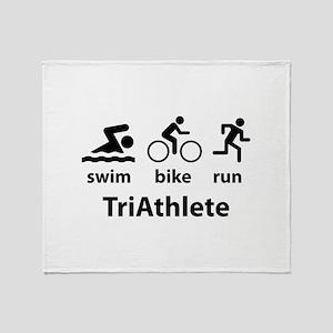 Swim Bike Run TriAthlete Throw Blanket