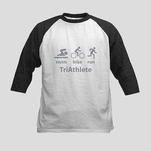 Swim Bike Run TriAthlete Kids Baseball Jersey