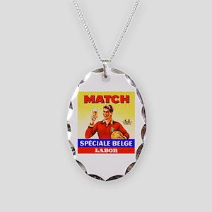 Belgium Beer Label 9 Necklace Oval Charm