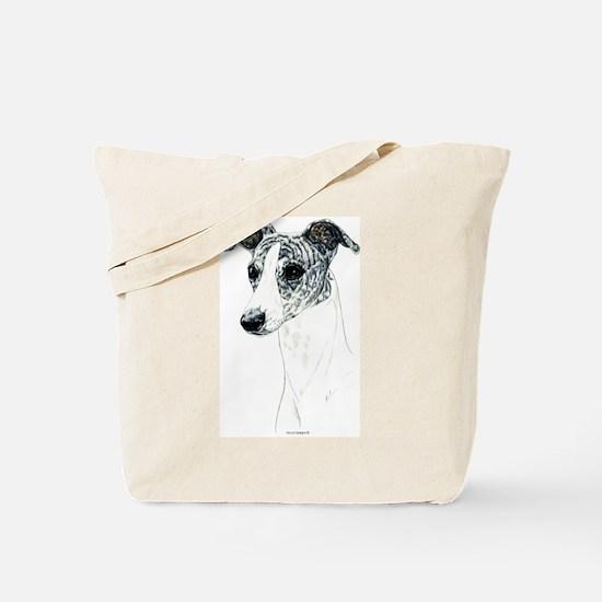 Brindle Whippet Dog Portrait Tote Bag