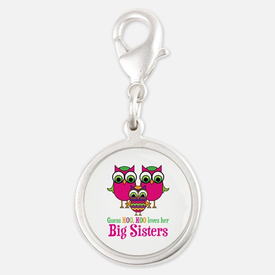 Little Sis Big Sisters Silver Round Charm