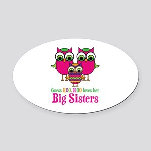 Little Sis Big Sisters Oval Car Magnet