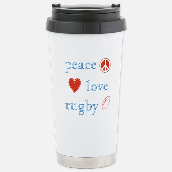 Peace Love Rugby Stainless Steel Travel Mug