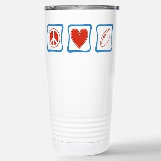 Peace Love Football Stainless Steel Travel Mug