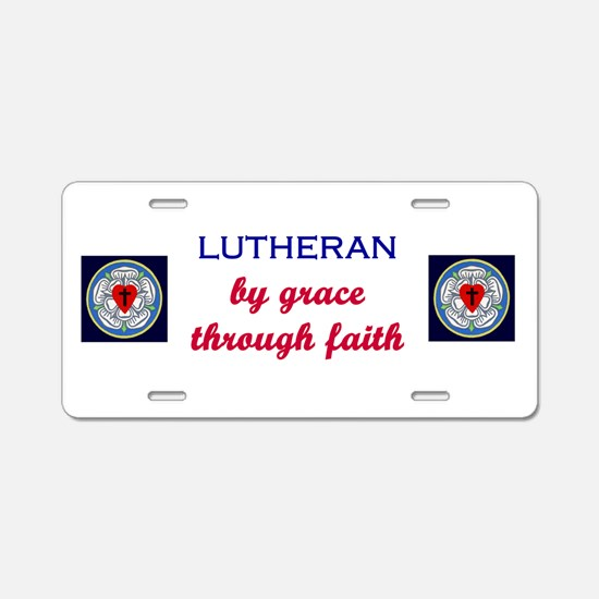 Lutheran by Grace Aluminum License Plate