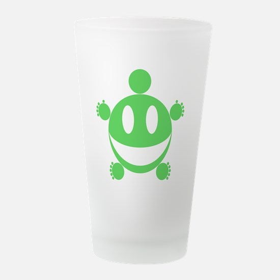 Fat Happy (Green).png Frosted Drinking Glass