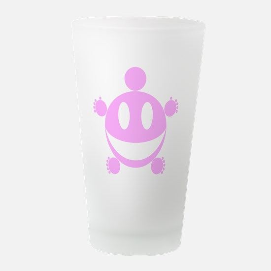 Fat Happy (Pink).png Frosted Drinking Glass
