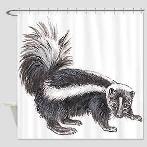 Striped Skunk Shower Curtain