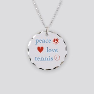 Peace Love Tennis Necklace Circle Charm