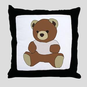 Cute Teddy Bear In Pink Top Throw Pillow