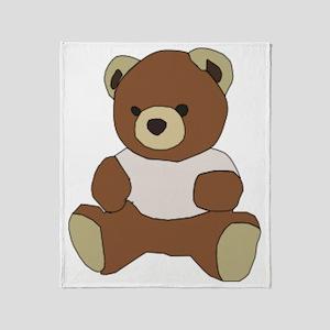 Cute Teddy Bear In Pink Top Throw Blanket