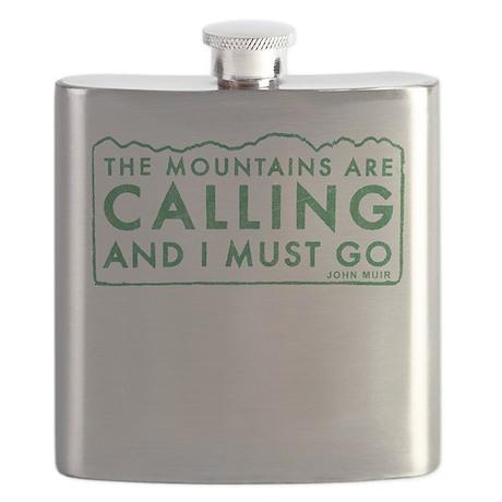 John Muir Mountains Calling Flask