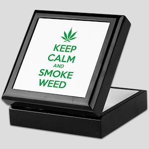 Keep calm and smoke weed Keepsake Box