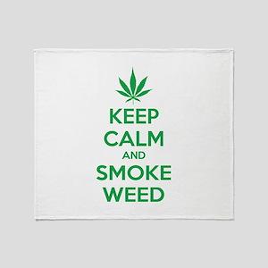 Keep calm and smoke weed Throw Blanket