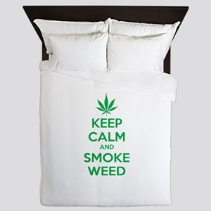 Keep calm and smoke weed Queen Duvet