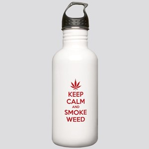Keep calm and smoke weed Stainless Water Bottle 1.