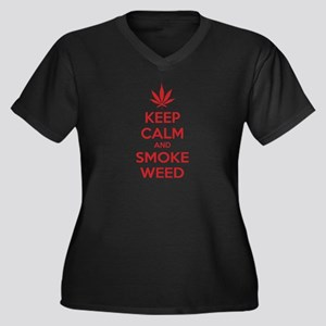 Keep calm and smoke weed Women's Plus Size V-Neck