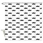 Black Mustache pattern Shower Curtain