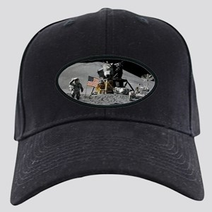 Apollo Moon Flag Salute USA Black Cap