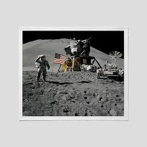 Apollo Moon Flag Salute USA Throw Blanket