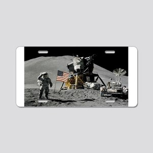Apollo Moon Flag Salute USA Aluminum License Plate