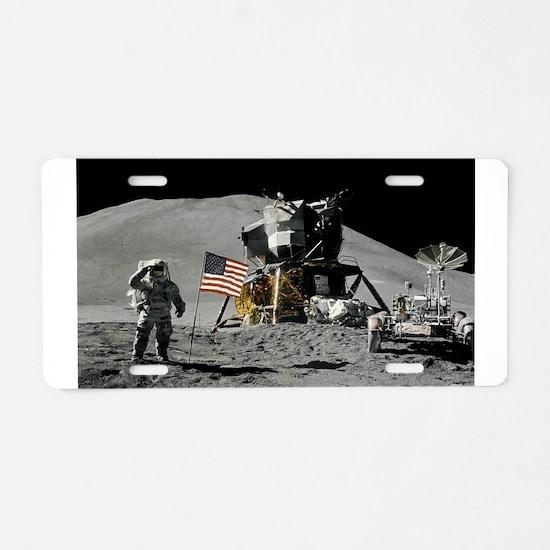 Apollo Moon Flag Salute USA Aluminum License Plate