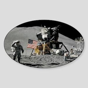 Apollo Moon Flag Salute USA Sticker (Oval)