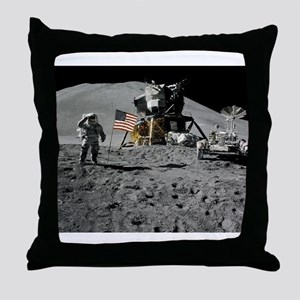 Apollo Moon Flag Salute USA Throw Pillow