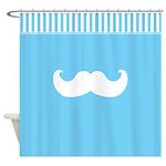 Blue Mustache Shower Curtain