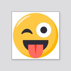"Winky Tongue Emoji Square Sticker 3"" x 3"""