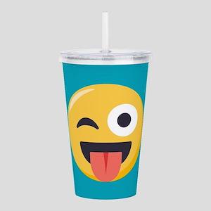 Winky Tongue Emoji Acrylic Double-wall Tumbler
