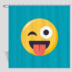 Winky Tongue Emoji Shower Curtain