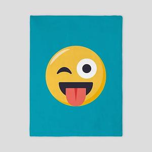 Winky Tongue Emoji Twin Duvet Cover