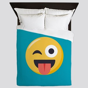 Winky Tongue Emoji Queen Duvet