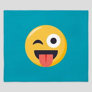 Winky Tongue Emoji King Duvet
