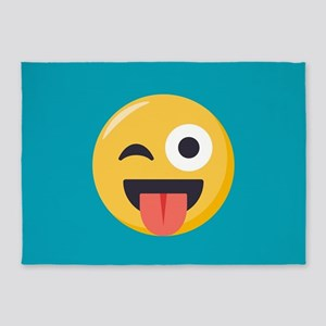 Winky Tongue Emoji 5'x7'Area Rug
