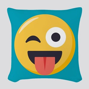 Winky Tongue Emoji Woven Throw Pillow