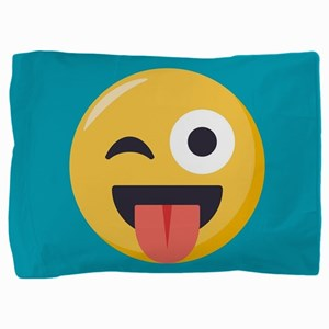 Winky Tongue Emoji Pillow Sham