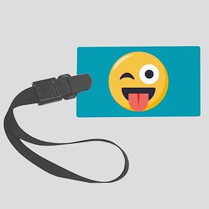 Winky Tongue Emoji Large Luggage Tag