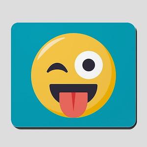 Winky Tongue Emoji Mousepad