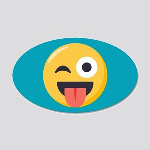 Winky Tongue Emoji 20x12 Oval Wall Decal