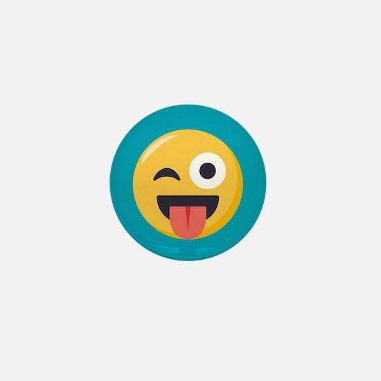 Winky Tongue Emoji Mini Button