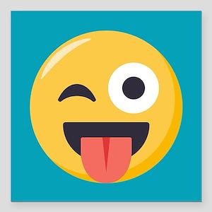 "Winky Tongue Emoji Square Car Magnet 3"" x 3"""