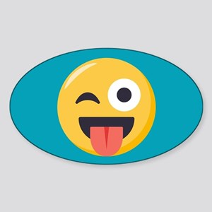 Winky Tongue Emoji Sticker (Oval)